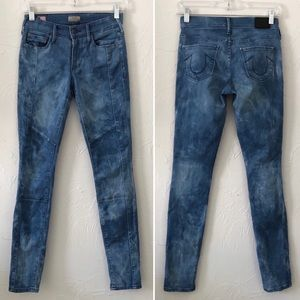 True Religion Halle Moto Mid Rise Skinny Jeans